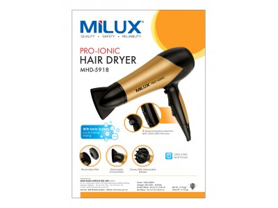 Milux 2200w Pro Ionic Hair Dryer with Cool Shot Function MHD5918