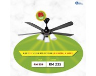 Milux 5blades Ceiling Fan with light kit ready 56'' MCF-C212