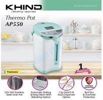 Khind Thermo Pot (Midori Series) 5.5L Auto Dispenser Function + SUS 304 Stainless Steel Inner Pot AP550