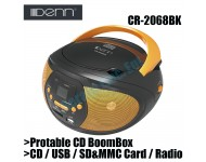 Denn Protable CD BoomBox with USB & Radio Receiver CR-2068BK