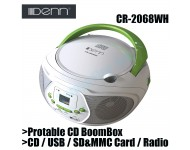Denn Protable CD BoomBox with USB & Radio Receiver CR-2068WH